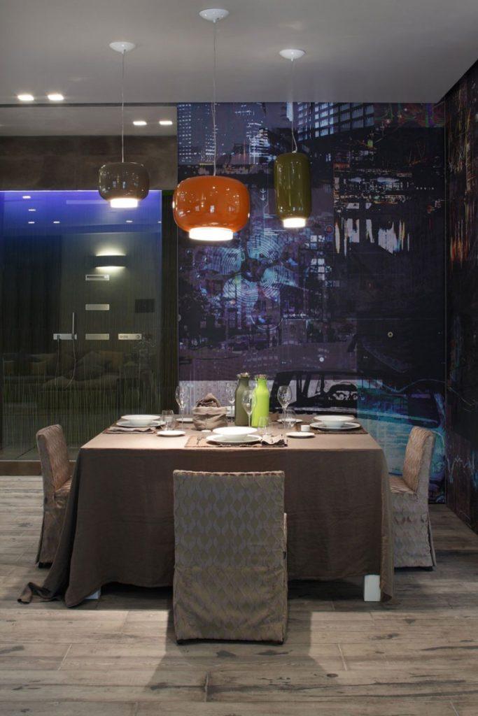 dark dining area