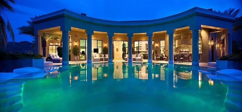 greek style pool house
