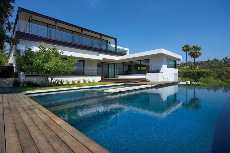 house with pool decking