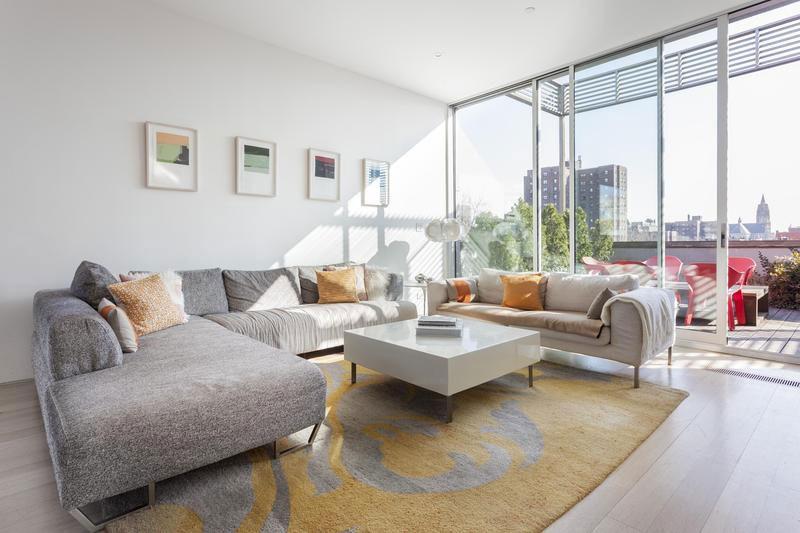 light sofa and natural light living room