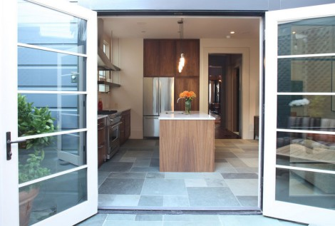 modern kitchen with yard accss