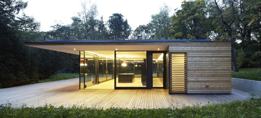 contemporary house made of wood and glass