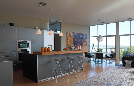 open floor plan space kitchen island