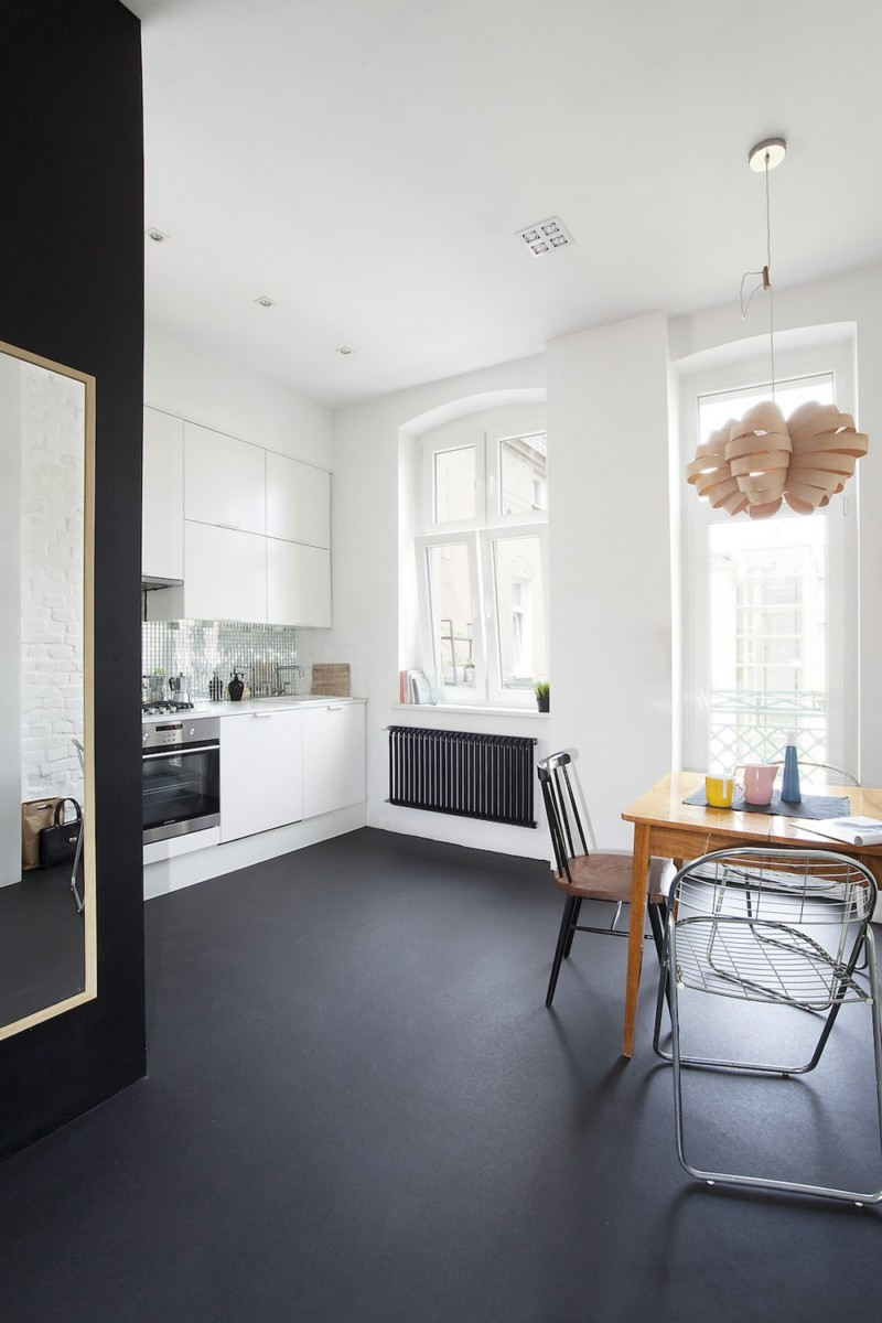 black floor in the kitchen