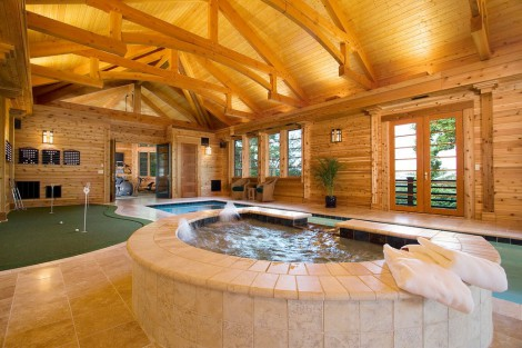 timber roof hot tub