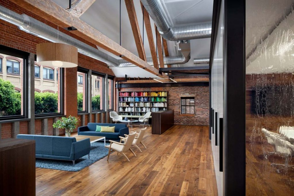 wonderful contemporary office space with womb chairs