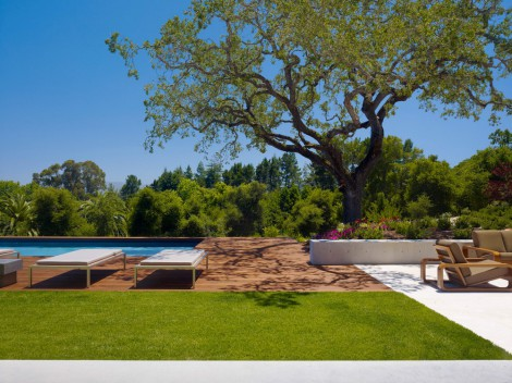 wooden deck over the pool