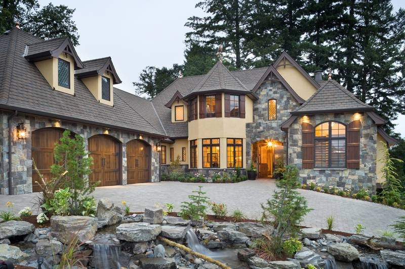 canadian stone facade home chalet