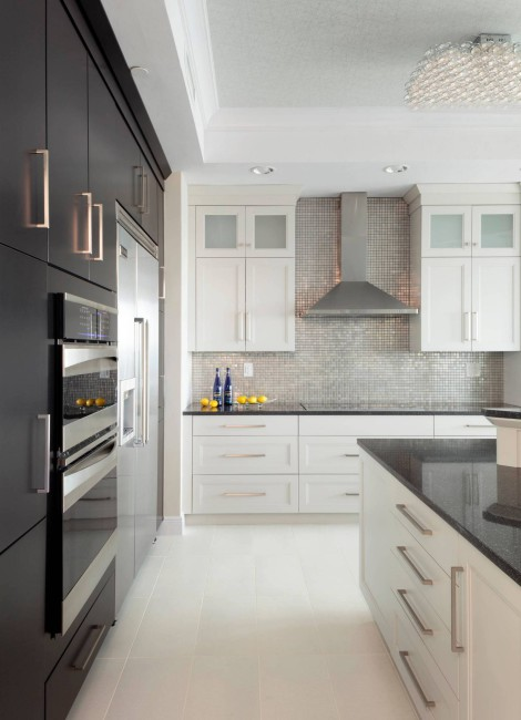 white floor tiles and cabinetry
